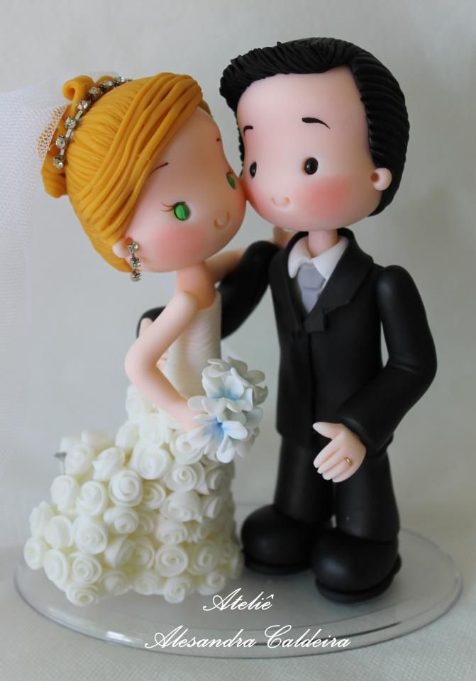 Bride and groom porcelana fria polymer clay