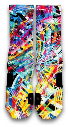 """LeBron X What The MVP Nike Custom Elite Socks. For a crazy shoe where the left and right doesn't match, like the Nike LeBron X """"What the MVP"""", there should be crazy socks to match and these fit the bill.  The wheel of colors will match every color found on that crazy shoe.  Various colorful shapes and lines overlapping a color wheel."""