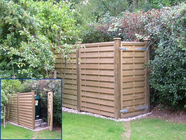 Panel fence and gate to screen oil tank lake home ideas for Garden design generator