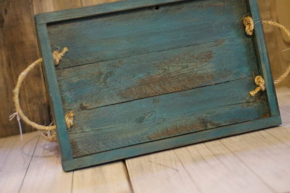 Reclaimed Rustic Pallet Wood Serving Tray Customizable Rustic Wedding Table Centerpiece Teal