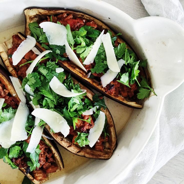 Fyldte auberginer med oksekød