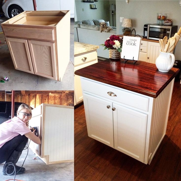 Kitchen Island Made From Base Cabinets: Last Year I Made This Beautiful Kitchen Island From A $100