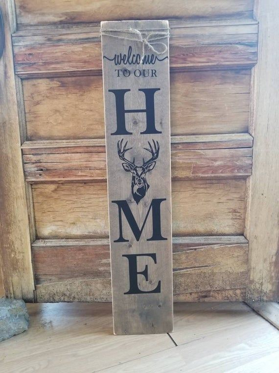 Porch Sign Buck Wooden Welcome Sign Canada Hunting Decor Etsy Wooden Welcome Signs Hunting Decor Diy Wood Signs