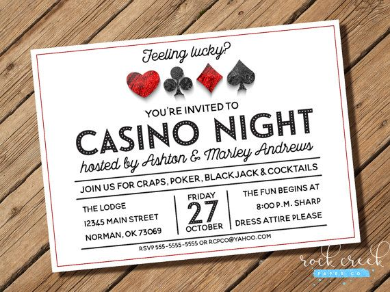 Casino Night Invitation Poker Run Invitation Gambling