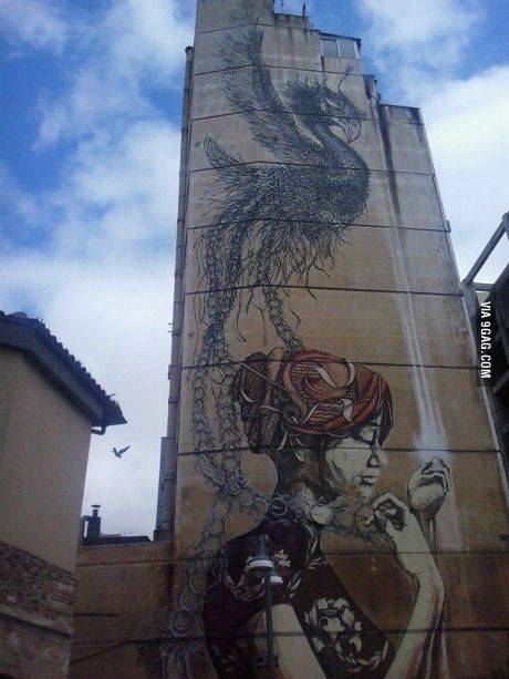 Street art in Thessaloniki Greece. This is what they call vandalism.