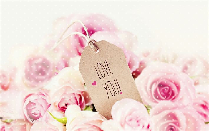 Download wallpapers I Love You, pink roses, bouquet of flowers, paper sticker, Valentines Day