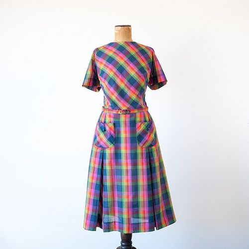 #Dress ... check it out: http://shop.1960sfashion... ...1960s Rainbow Dance plaid dress by Nelly Don
