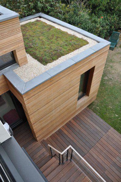 Le toit terrasse de l'extension est végétalisé.