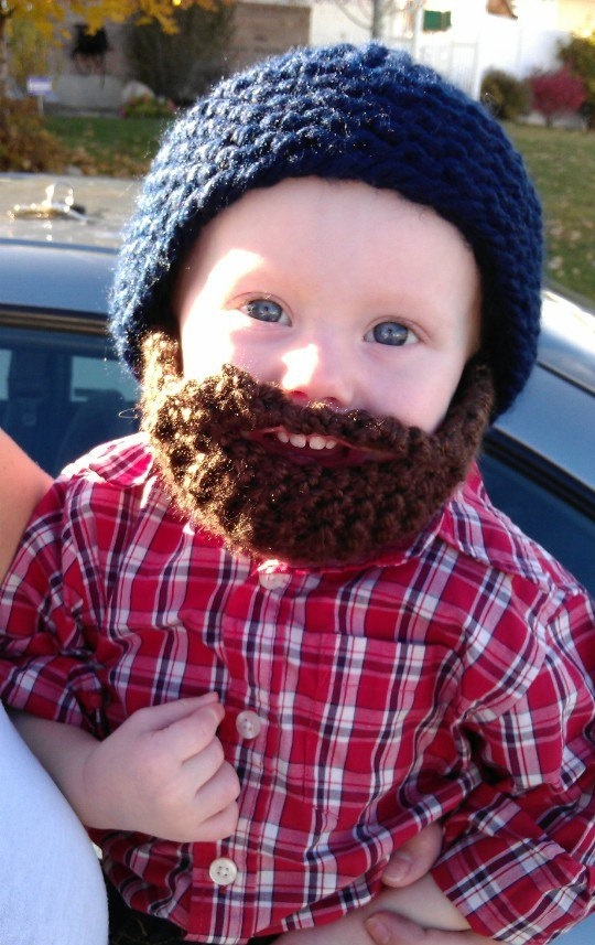 Bearded knit hat. Perfect for the young lumberjack.