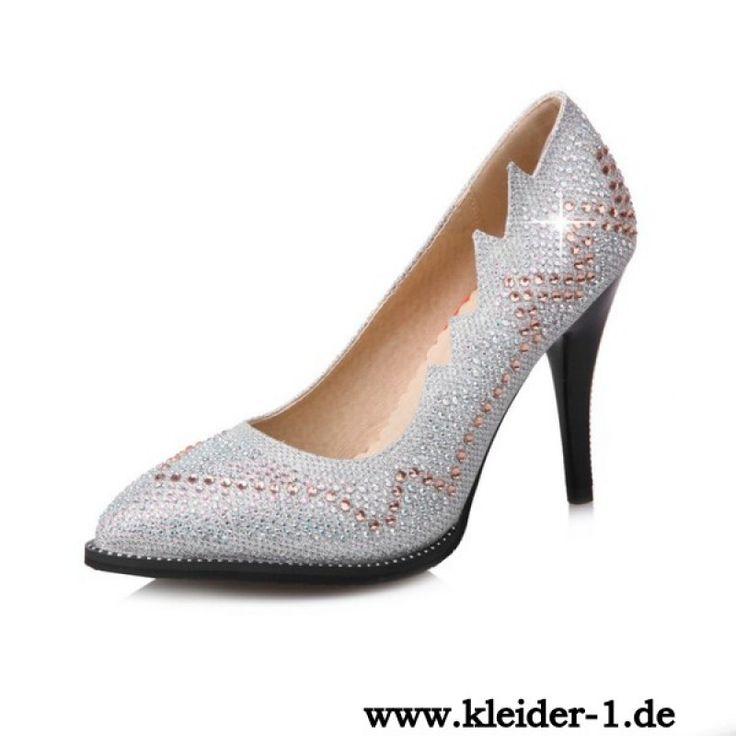 Damen High Heels Pumps Abendschuhe in Silber