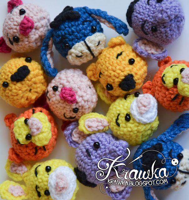 Krawka: Winnie the Pooh y el patrón de crochet libre -minis amigos.  Pooh, cochinillo, conejo, tigre, Eeyore, heffalump