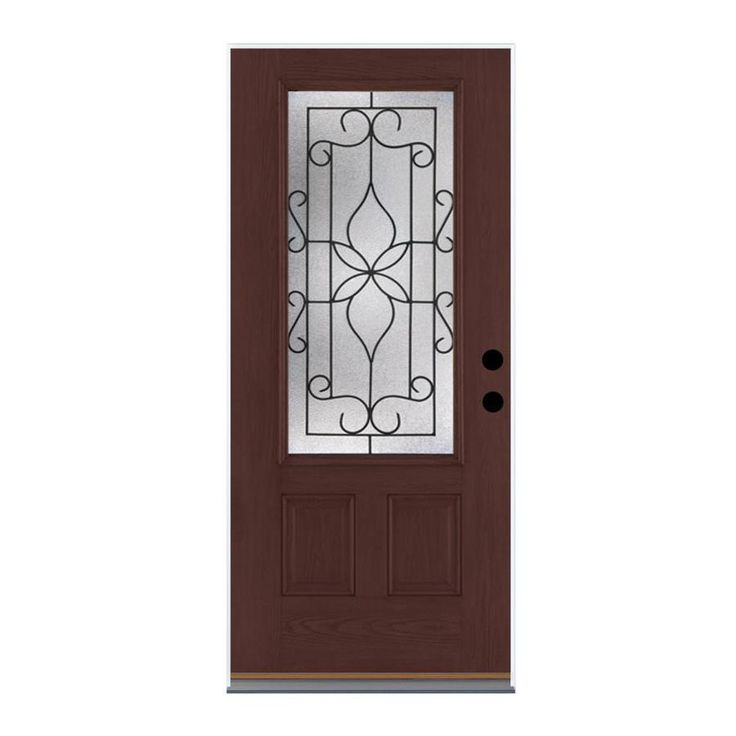 Therma-Tru Benchmark Doors Florentino 2-Panel Insulating Core 3/4 Lite Right-Hand Outswing Dark Mahogany Fiberglass Stained Prehung Entry Door (Common: 36-in x 80-in; Actual: 37.5-in x 80.5-in)
