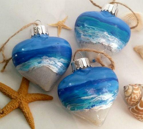 Painted Beach Ornaments... http://www.completely-coastal.com/2016/11/handmade-coastal-beach-nautical-ornaments.html
