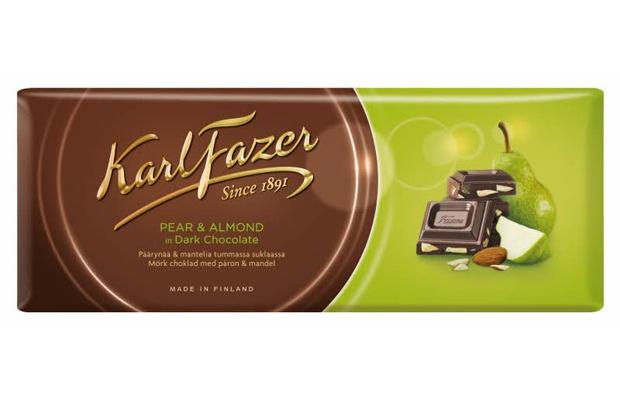 Karl Fazer Tumma suklaa päärynä ja manteli 200g suklaalevy
