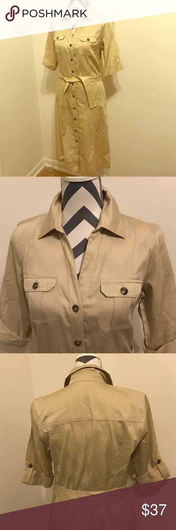 Ann Taylor shirt dress Khaki shirt dress. Great condition Ann Taylor Dresses