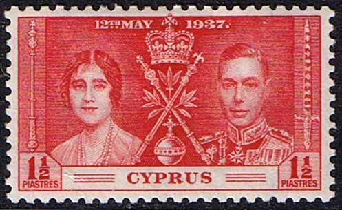 Cyprus 1937, King George VI Coronation, Scott 141. Earlier in George VI's reign was this omnibus coronation issue, which replaced the little-used stamps for his brother, Edward VIII, who abdicated in George's favor.