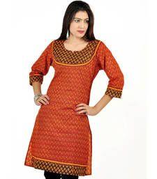 Buy Jaipuri Designer Print Red Black Cotton Top 195 kurtas-and-kurti online
