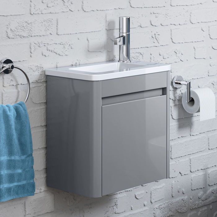 400mm Denver Grey Right Hand Cloakroom Vanity Unit Wall Hung