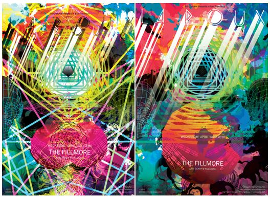 Poster and Illustration design comps for La Roux at the Fillmore SF - Hannah Stouffer
