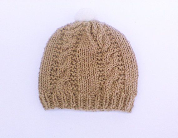 Taupe cable boy's hat bobble hat pompom cable hat by HandmadeTrend, $22.00