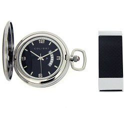 Colibri Pocket Watch Polished Steel with Black Trim and Money Clip
