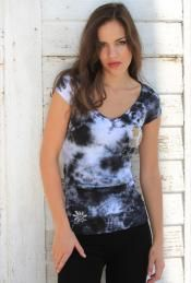 Black Tie-Dye Tee with Crystal Heart and Wings