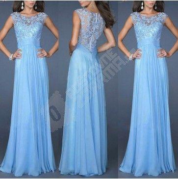 Dlouhé společenské šaty s krajkou-modré