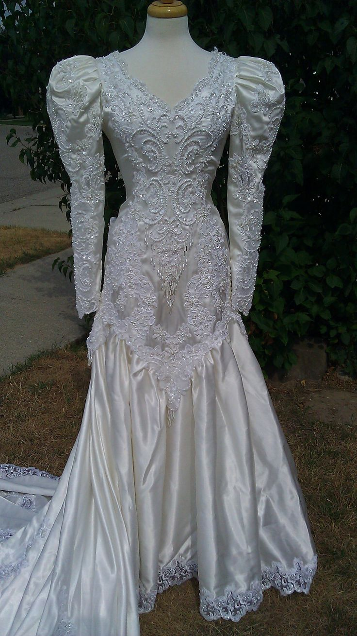 SALE 80s wedding dress white satin with 5 foot train. Vintage Princess wedding dress from 1980s SALE was 130. $74.95, via Etsy.