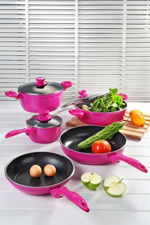 Pink Pots And Pans Set | Pink Cookware Set, China Pink Cookware Set, Manufacturer & Supplier