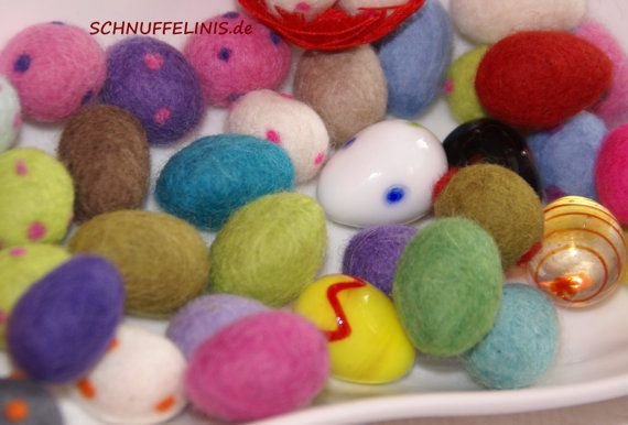 Felted Eggs 25pcs. in 1inch  CHOOSE YOUR Felt von Schnuffelinis