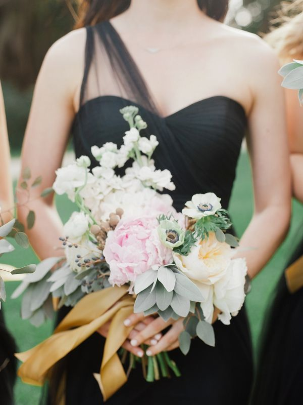 Bridesmaid Dress By Jenny Yoo Paired With A Lush Bouquet Black And Gold Miami