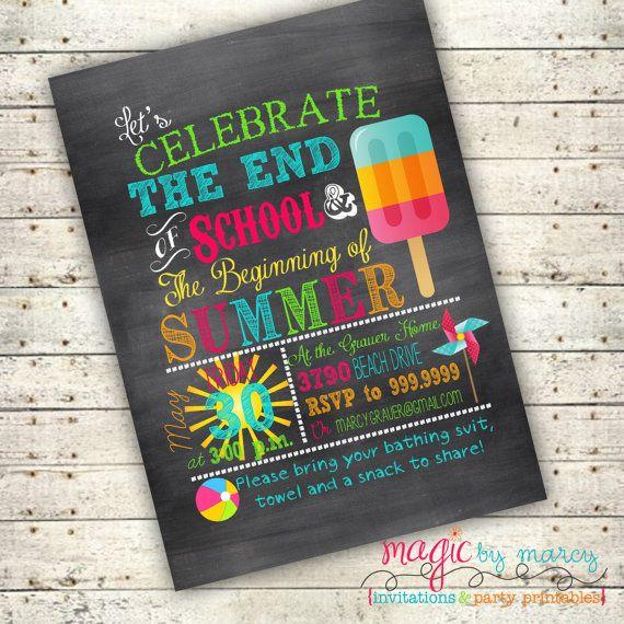 End of School Summer Party Ideas: Digital  End of School Summer Backyard Party by MagicbyMarcy, $18.00