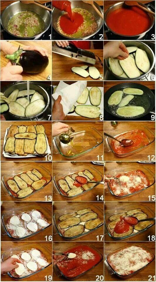 Ingrediënten: 2 gemiddel uien Zout en zwarte peper  Olie kleine kopje (5 eetlepel s) Een blik tomaten  100gr parmezaanse kaas Motzarela kaas een zak is ongeveer zoals in de foto in plakjes snijden 2 grote stuks Aubergine  Eerste moet je de uien fijn snijden en in de olie laten tot het licht bruin worden vervolgens moet je de tomaten bij voegen met zout en peper er bij en laat it ongeveer 10 min op de lage vuur. Na het wassen moet je de aubergine in grote plakken snijden en frituren zoals in…