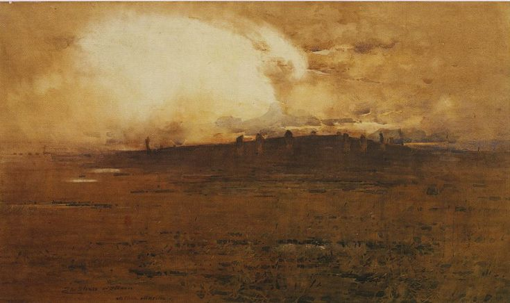 Arthur Melville ARSA RSW (1855–1904,. Standing Stones of Stennis, Stenness, near Kirkwall, Orkney. Watercolour on paper, 29 1/2 x 49 inches (75 x 125 cm).