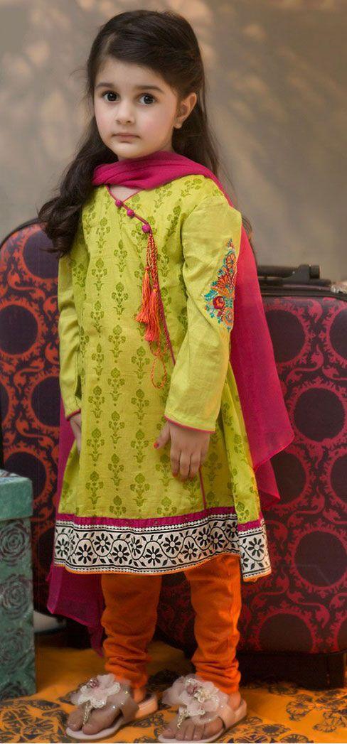 Buy Lime Green Embroidered Cotton Dress by PakRobe.com Call: (702) 751-3523  Email: Info@PakRobe.com www.pakrobe.com https://www.pakrobe.com/Women/Clothing/Girls-Party-Dresses #GIRLS #PARTY #DRESSES