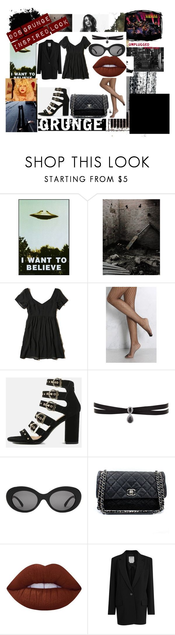 """""""90s grunge inspired look"""" by rachaelmccabe on Polyvore featuring Marc Jacobs, Nasty Gal, Hollister Co., Rare London, Fallon, Chanel, Lime Crime and DKNY"""