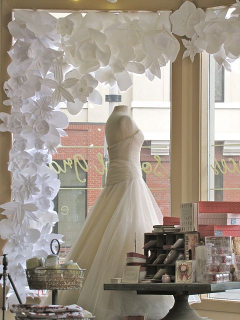 paper flower display adorning the window
