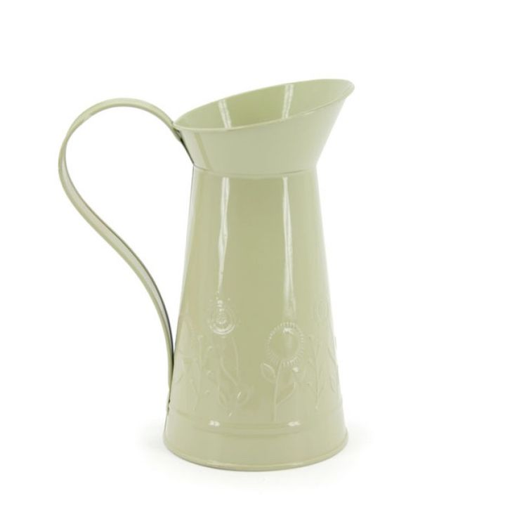Embossed Tin Watering Jug. Our range of tin is a great alternative to glass for your wedding or event.