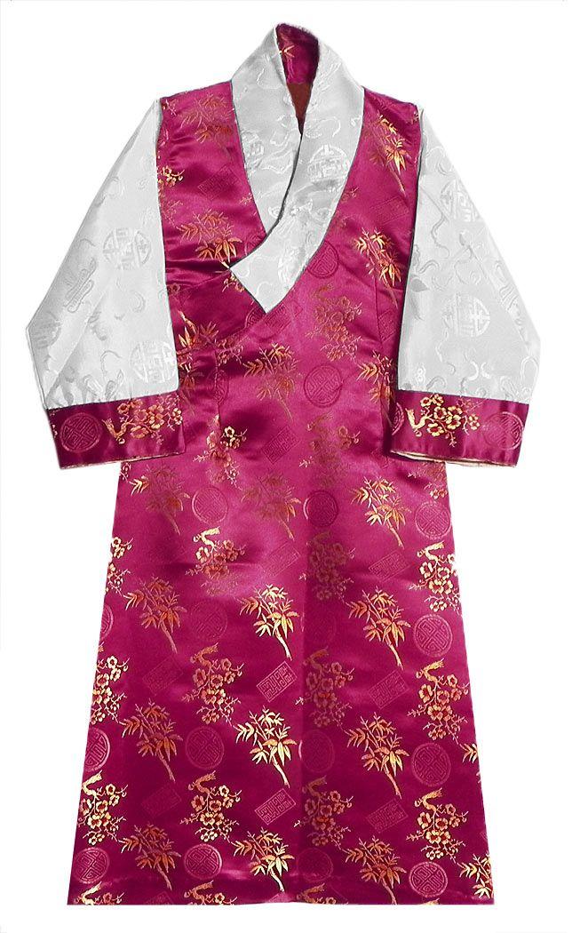 Kumkum Red Brocade Silk Sikkimese Dress (Silk)