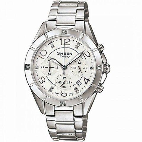 Reloj de mujer en acero con esfera clara,fecha,cronómetro y cristalitos SWAROVSKI en las horas impares y en el bisel exterior  en las 3,6,9 y 12