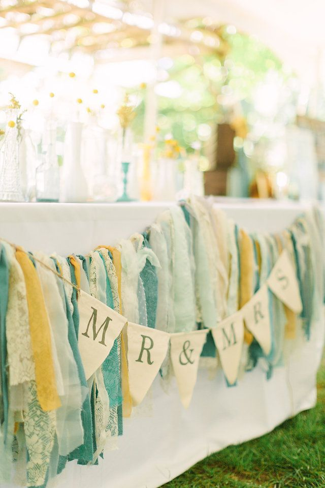 Vintage, Michigan Wedding, Wedding Decor, James Saleska Photography, Wedding Photography, Billy Balls, Vases, Milk Glass, Dried Flowers, Mustard, Mint, Teal, Peacock, White, Mix and Match, Glass, Rag Banner, Homemade, DIY Wedding, Mr. and Mrs. Banner, Canvas Banner, Pennant Banner, Head Table, Sweetheart Table, Vintage Wedding