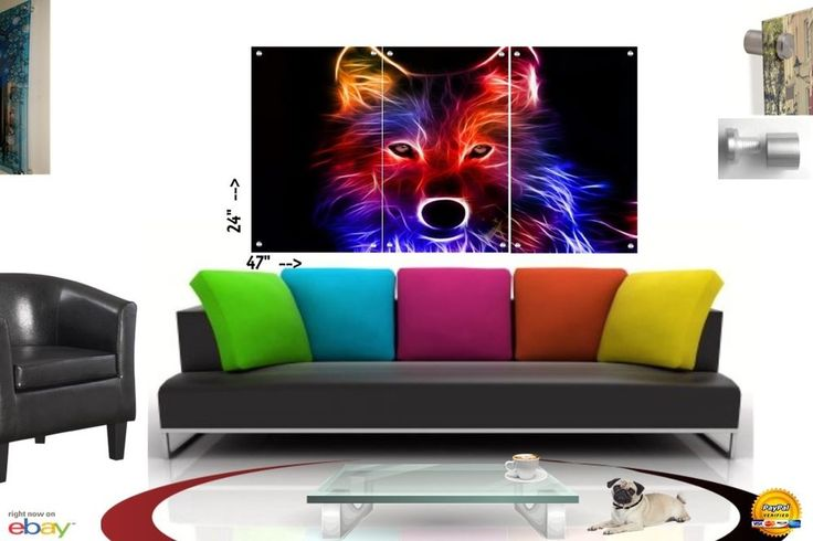 Wall Art in Floating Acrylic Glass Plexiglass Modern Abstract Art Wolf  3 Panel #Modern