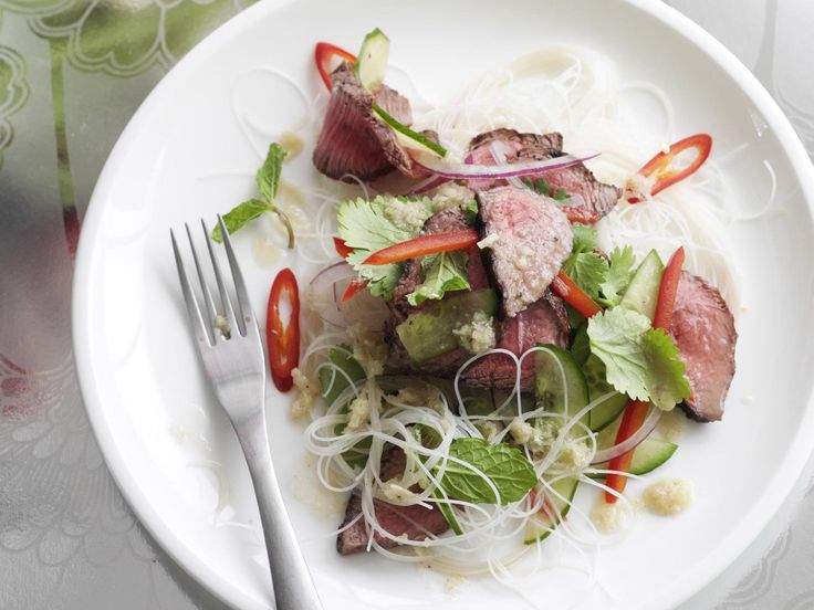 A light, healthy, fragrant Thai beef salad with vermicelli noodles, mint, coriander and lime dressing.