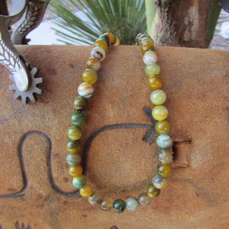 "Handcrafted Green Sardonyx Gemstone Beaded Necklace, Healing, Meditation, Chakra ""Canyon Waterfall"" by canyonviewjewelry on Etsy"