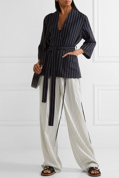 Acne Studios - Jada Belted Pinstriped Wool Blazer - Navy - FR32