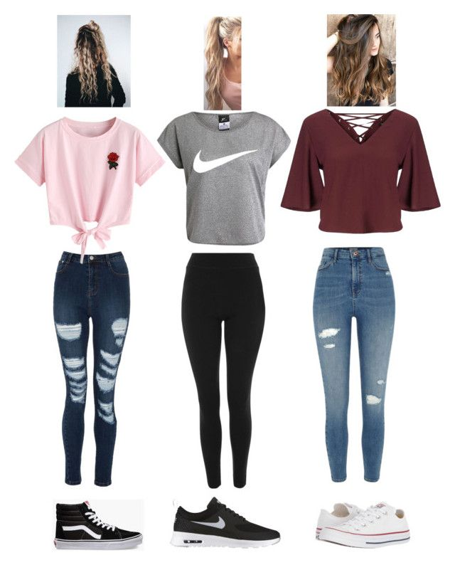 """Outfits for the week"" by felicitybriansdotter on Polyvore featuring Topshop, River Island, NIKE, Miss Selfridge, WithChic, Vans, Converse and Avery"