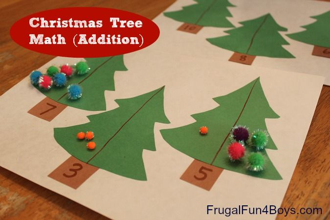 Christmas tree math with tips on how to modify for younger children at the bottom of the post.