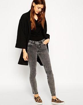 Увеличить Серые джинсы скинни с классической талией ASOS Lisbon