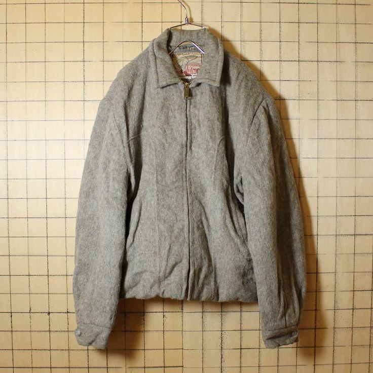 USA製 50s ヴィンテージ 古着 ウールジャケット メンズML相当 グレー Julmor キルティング ワーク CONMATIC