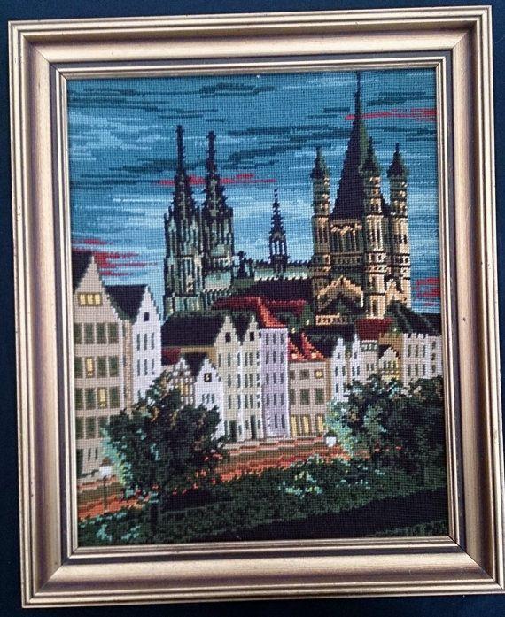 Framed Tapestry Picture. Vintage Gobelin Landscape. ROP0042